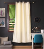 Lushomes Off White Polyester 90 x 54 Inch Twinkle Star 8 Eyelets Door Curtain with Blackout Lining - Set of 2