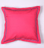 Lushomes Pink Cotton 16 x 16 Inch Half Panama Cushion Covers with Bachelor Button Satin Stitch - Set of 2