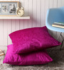 Lushomes Pink Polyester 24 x 24 Inch Embossed Blackberry Cushion Cover - Set of 2