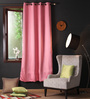 Lushomes Pink Polyester 90 x 54 Inch Plain Blackout Door Curtain with 8 Metal Eyelets - Set of 2