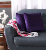 Lushomes Purple Polyester 16 x 16 Inch Embossed Blackberry Cushion Cover - Set of 2