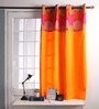 Lushomes Red Cotton 60 x 54 Inch Spiral Printed Bloomberry Windows Curtain with 8 Eyelets & Printed Tiebacks - Set of 2