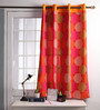 Lushomes Red Cotton 60 x 54 Inch Spiral Printed Windows Curtain with 8 Eyelets & Plain Tiebacks - Set of 2