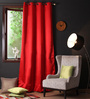 Lushomes Red Polyester 108 x 54 Inch Plain Blackout Long Door Curtain with 8 Metal Eyelets - Set of 2