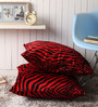 Lushomes Red Polyester 24 x 24 Inch Zebra Skin Printed Cushion Covers - Set of 2