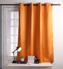 Lushomes Red Polyester 60 x 54 Inch Plain Blackout Windows Curtain with 8 Metal Eyelets - Set of 2