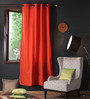 Lushomes Red Wood Cotton 90 x 54 Inch Plain Door Curtain with 8 Eyelets & Plain Tiebacks - Set of 2