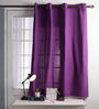 Lushomes Royal Lilac Cotton 60 x 54 Inch Plain Windows Curtain with 8 Eyelets & Plain Tiebacks - Set of 2