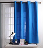 Lushomes Sky Diver Cotton 60 x 54 Inch Plain Windows Curtain with 8 Eyelets & Plain Tiebacks - Set of 2