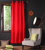 Lushomes Tomato Cotton 90 x 54 Inch Plain Door Curtain with 8 Eyelets & Plain Tiebacks - Set of 2