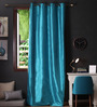 Lushomes Turquoise Polyester 108 x 54 Inch Twinkle Star 8 Eyelets Long Door Curtain with Blackout Lining - Set of 2