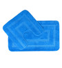 Lushomes Turquoise Polyester Bath and Toilet Mat - Set of 2