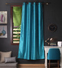 Lushomes Turquoise Polyester 90 x 54 Inch Twinkle Star 8 Eyelets Door Curtain with Blackout Lining - Set of 2