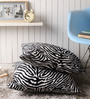 Lushomes White Polyester 24 x 24 Inch Zebra Skin Printed Cushion Covers - Set of 2