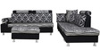 Martin LHS Sofa in Black & Grey Print by Sofab