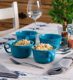 Machi Blue Melamine 550 ML Maggie Bowl - Set Of 4