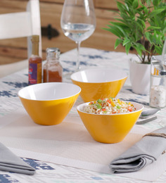 Machi Yellow Melamine 600 ML Noodle Bowl - Set Of 3