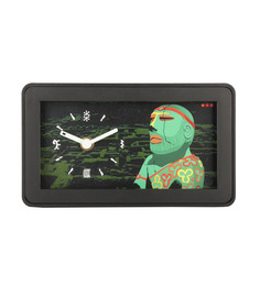 Mad(e) In India Green Glass 4.25 X 7.25 X 1.75 INCH Harappa Table Clock