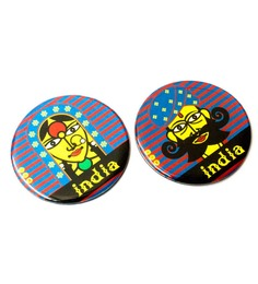 Mad(e) in India Couple Multicolour Wooden Rajasthani Art Fridge Magnet - Set of 2