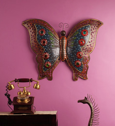 MALHAR Multicolor Iron Butterfly Wall Decor
