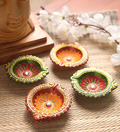 Manomay Kreations Multicolour Clay Hand Painted Diwali Diya - Set Of 4 - 1551198