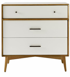 Marc Mid Century Three Drawer Chest Of Drawer in White & Brown Colour by Asian Arts