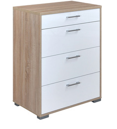 Marilyn High Gloss Chest of Four Drawers in Oak & White Colour by @home
