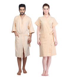 Mark Home Cream Terry Cotton Bath Robe - Set of 2