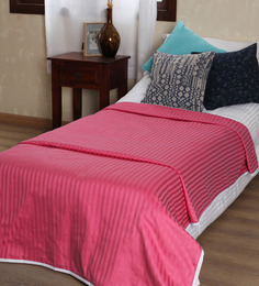 Mark Home Shocking Pink Self Striped Cotton Single Bed Dohar