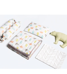 Masilo Bear Organic Cotton 5 Pc Crib Set in Multicolour