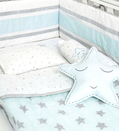 Masilo Star Organic Cotton 5 Pc Crib Set in Sky Blue Colour