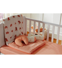 Maspar Peach Cotton Stripes and Checks 4-piece Baby Bed Set