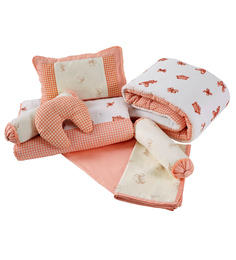 Maspar Peach Cotton Stripes and Checks 9-piece Baby Bed Set