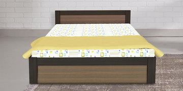 Martin Queen Size Bed With Box Storage In Midnight Oak & Classic Walnut Finish By UNiCOS