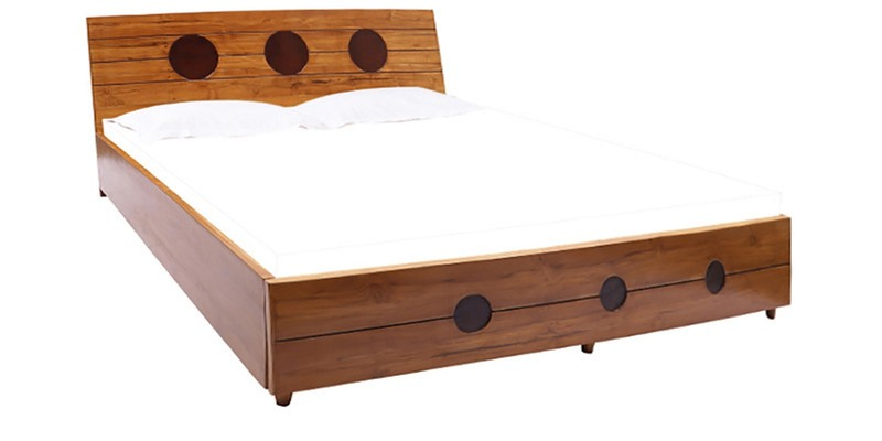 Mariana Teak Wood King Size Bed with Storage in Natural Teak Finish by Finesse
