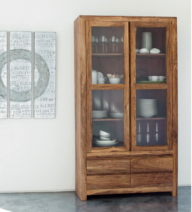 Cinnamon Glass Door Crockery Cabinet By Mudramark Online