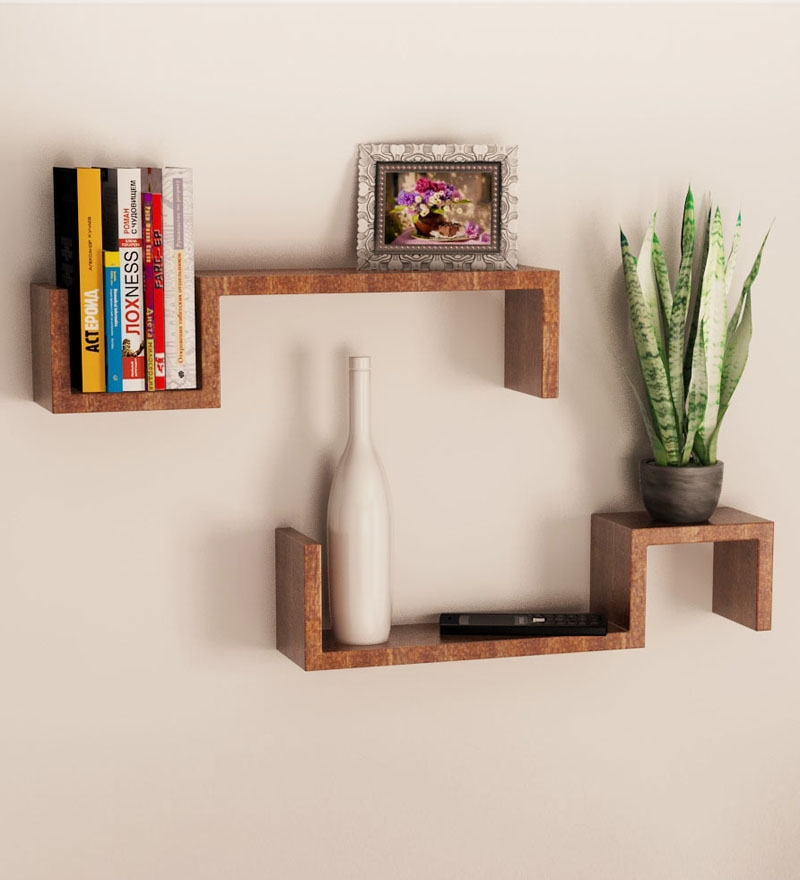 mango wood set of 2 wall shelves by home sparkle online wall shelves home decor pepperfry. Black Bedroom Furniture Sets. Home Design Ideas