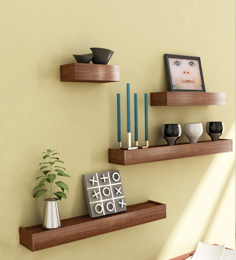 Mango wood set of 4 shelves by market finds online wall for Decorative items for home with waste material