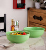 Machi Green Melamine 1000 ML Serving Round Bowl - Set Of 2