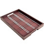 Machi Polished Brown Asters Wooden Tray - Set of 2