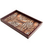 Machi Polished Brown Lynx Wooden Tray - Set of 3
