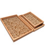 Machi Polished Brown Maze Wooden Trays - Set of 3