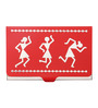 Mad(e) in India Warli Stainless Steel Red Visiting Card Holder