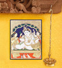 Madhurya Multicolour Gold Plated Balkrishna with Butter Pot Unframed Tanjore Painting