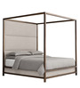 Majestic Canopy Queen Size Full Back Bed in Golden Colour by Asian Arts