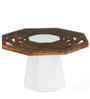 Malibu Center Table in White with Walnut Finish by @ Home