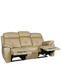 Manhattan Leather Three Seater Recliner in Beige Colour by HomeTown