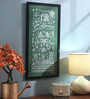 Manomay Kreations Green Canvas Community Life Framed Warli Painting