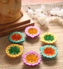 Manomay Kreations Multicolour Clay Hand Painted Diwali Diya - Set of 6
