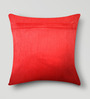 Mapa Home Care Red Duppioni 16 x 16 Inch Patchwork Cushion Cover